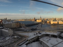 Södermalmstorg on the left and Gamla Stan (Old Town) on the right.